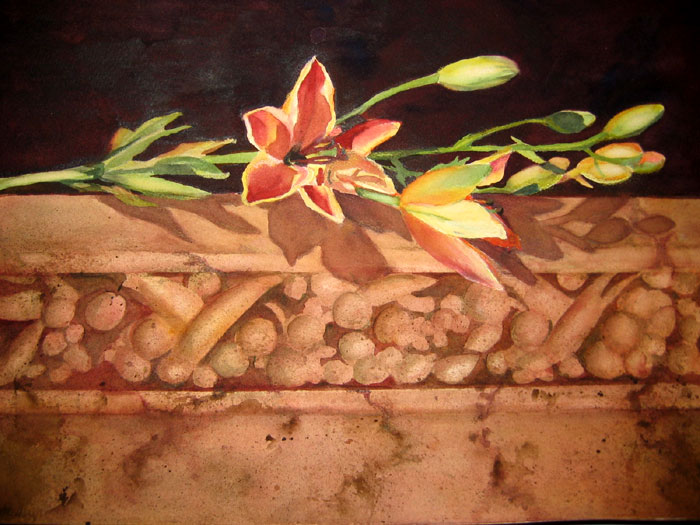 "Wall Flower - 22"" x 19"" Original Framed Watercolor :: NFS"