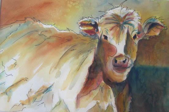 """Bernie - 18"""" x 24"""" Original Matted Watercolor :: $200"""