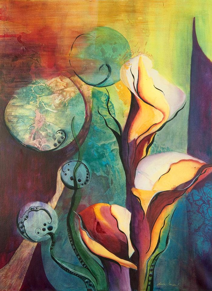 Calla Trails - Original Framed Watercolor :: $950.00