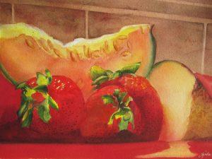 """Fruit Plate – 20"""" x 16"""" Matted Original Watercolor :: $250.00"""