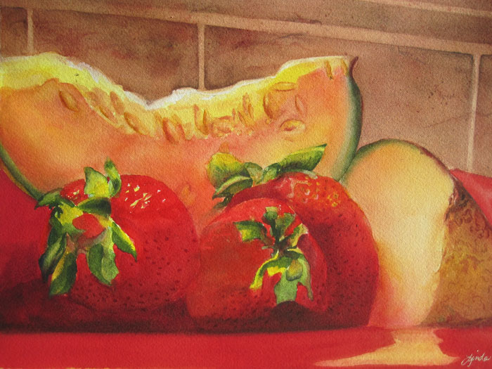 "Fruit Plate – 20"" x 16"" Matted Original Watercolor :: $250.00"
