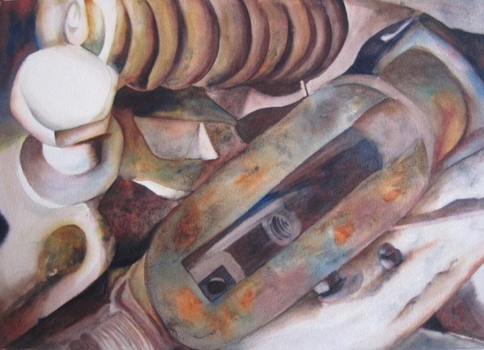 Inner Workings of the Farm I – 31″ x 25″ Original Framed Watercolor :: $850