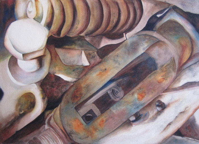 Inner Workings of the Farm I – 31″ x 25″ Original Framed Watercolor :: $850