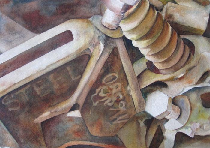 Inner Workings of the Farm II – 31″ x 25″ Original Framed Watercolor :: $850