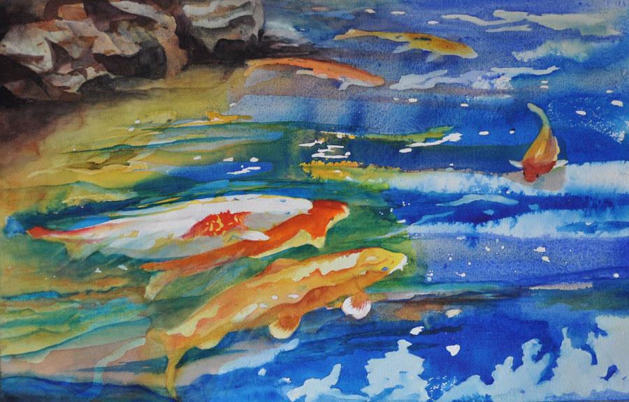 """Koi - 28"""" x 22"""" Original Matted Watercolor :: $695"""