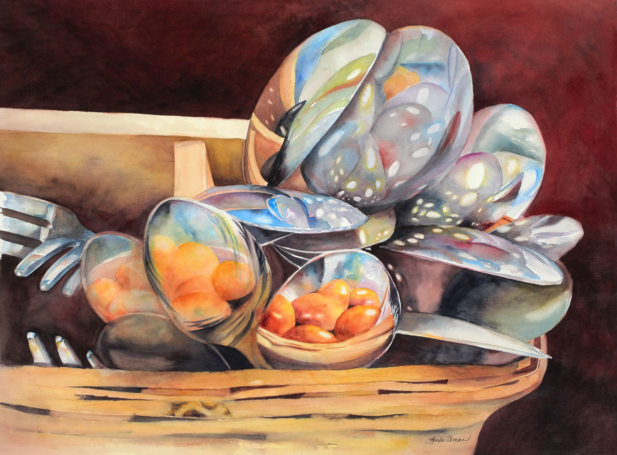 """Reflections by the Spoonful – 39"""" x 32"""" Original Framed Watercolor :: $1200.00"""