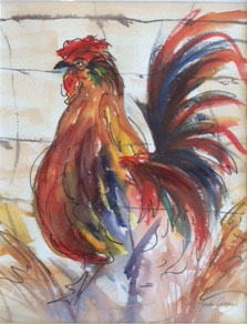 Rooster -- Original Watercolor