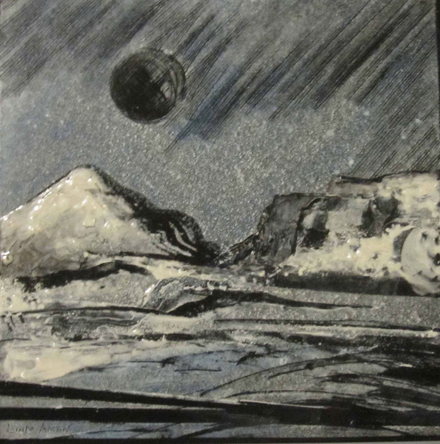 """Under the Moonlight - 6""""x 6"""" Original Fired Steel Painting :: $250.00"""