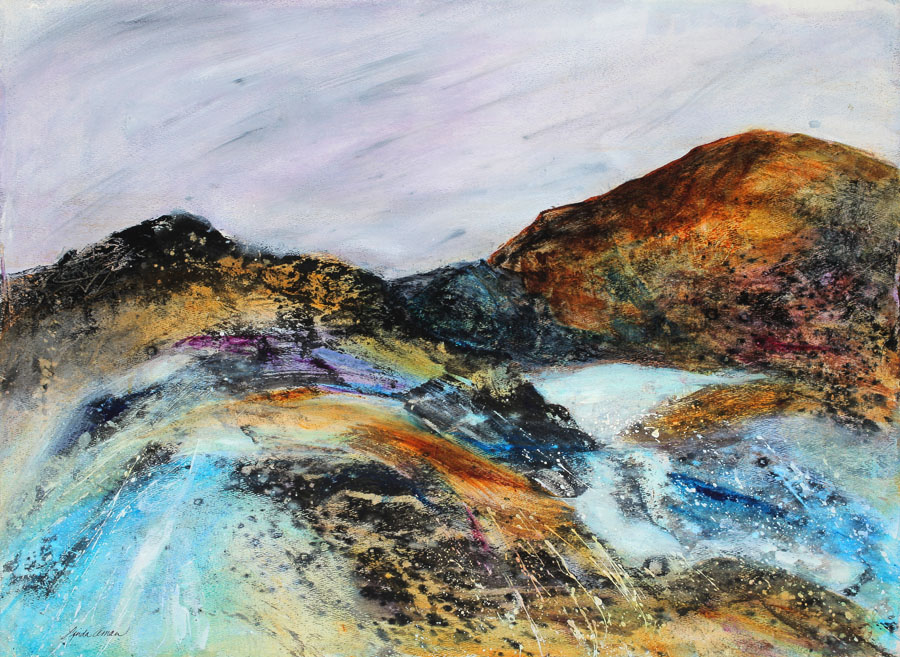"""After the Storm - 30"""" x 37"""" Matted Ready To Frame Original Acrylic & Mixed Media"""