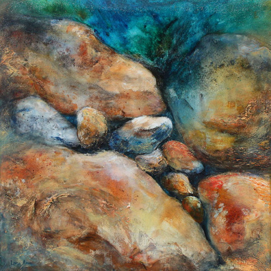 """Rocks Squared - 24"""" x 24"""" Original Acrylic on Wrapped Canvas :: SOLD"""