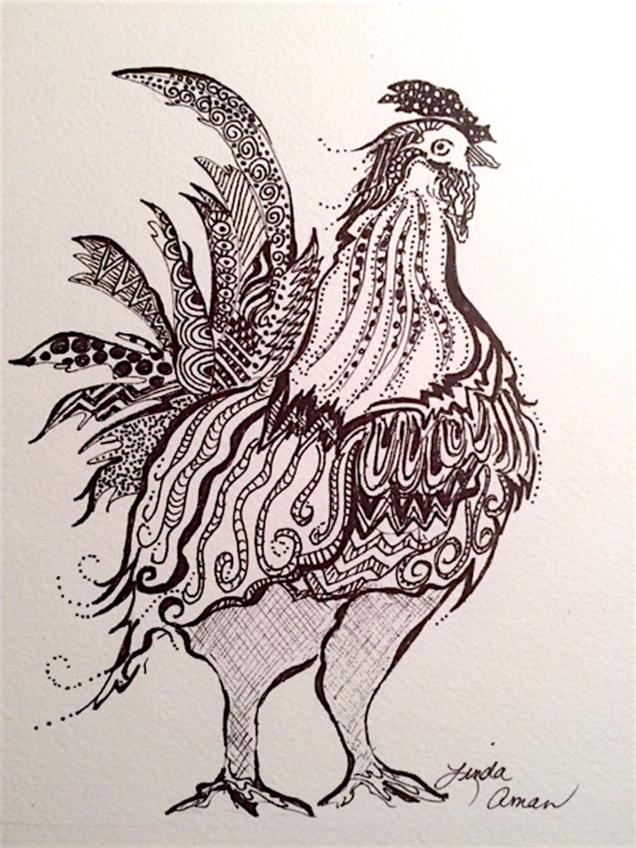 Rooster Pen and Ink