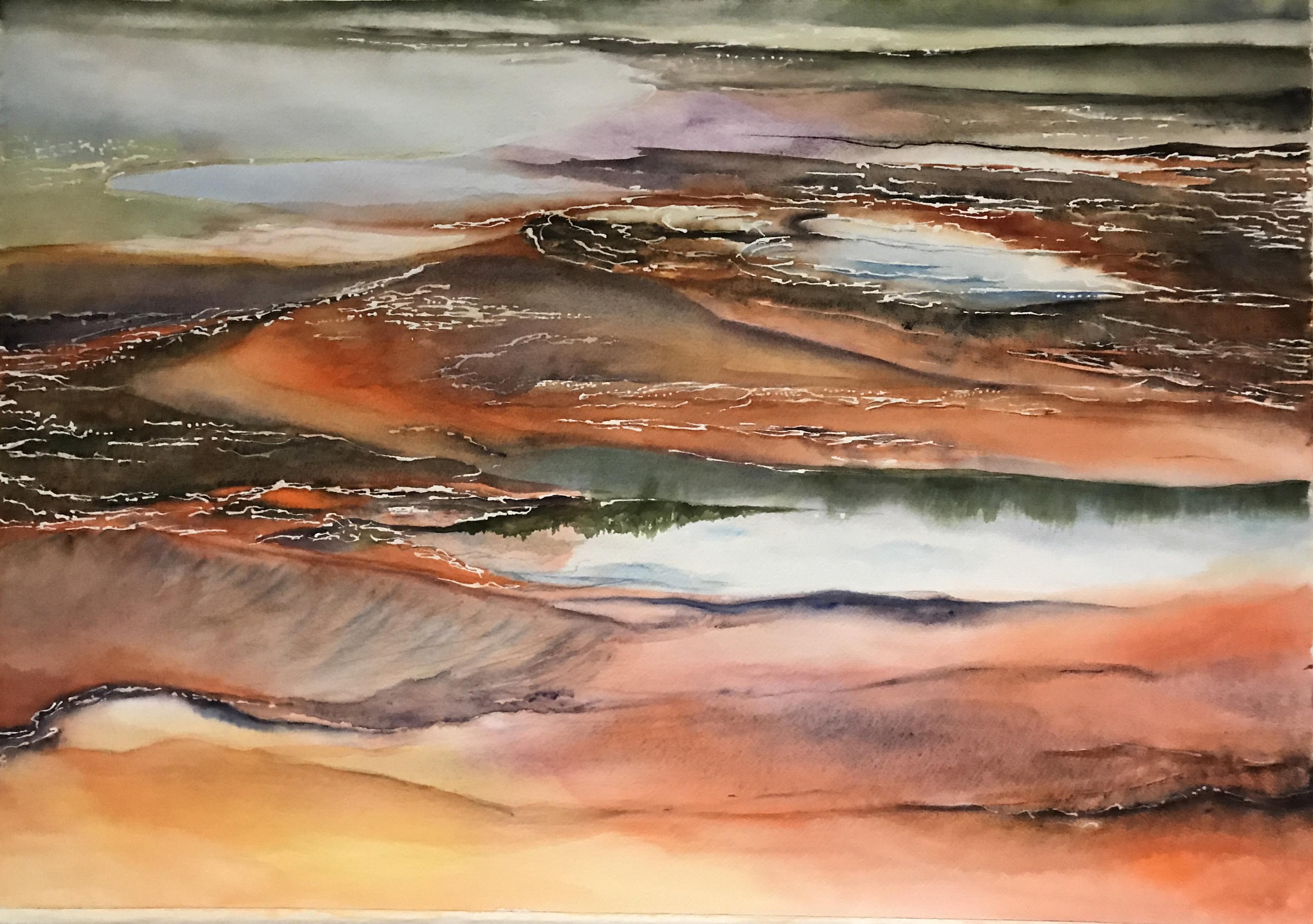 Prismatic Landscape Original Watercolor - Fine Art Print