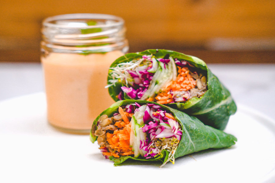 Collard Wraps with spiced lentils and red pepper miso sauce