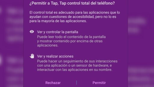 Para poder utilizar Tap Tap La nueva función android requiere una serie de permisos.