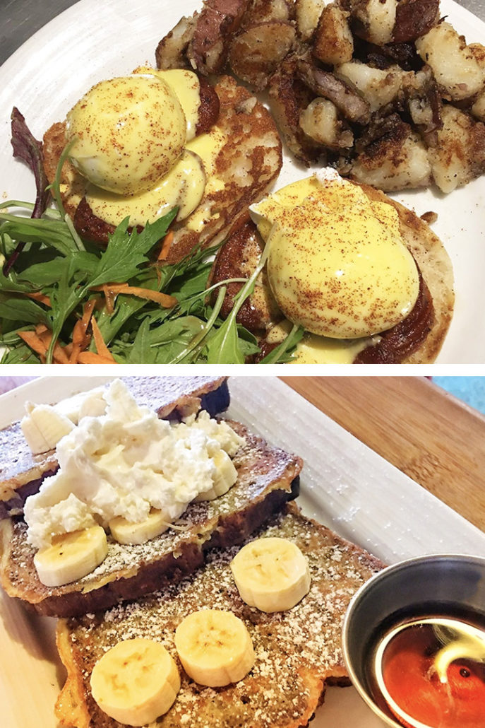 banana bread french toast eggs Benedict Maui local food