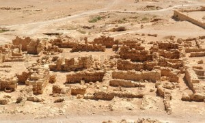 Ruins of ancient Masada fortress in the desert in Israel
