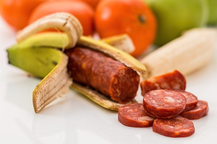 banana, meat, sausage