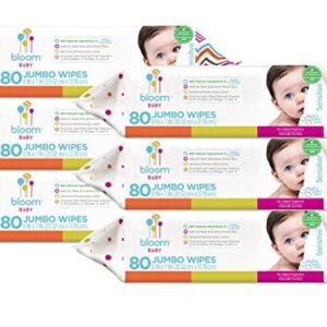 Bloom Baby Sensitive Skin Unscented Hypoallergenic Wipes, White, Large, 480 Count