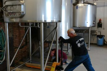 Fifth Ward setting up Fermentors in taproom