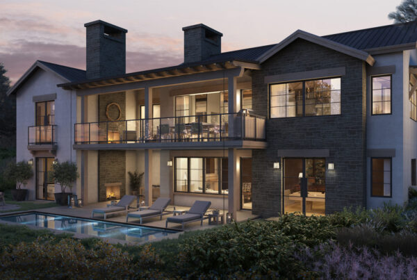 Rear exterior rendering of a home showing patio and pool