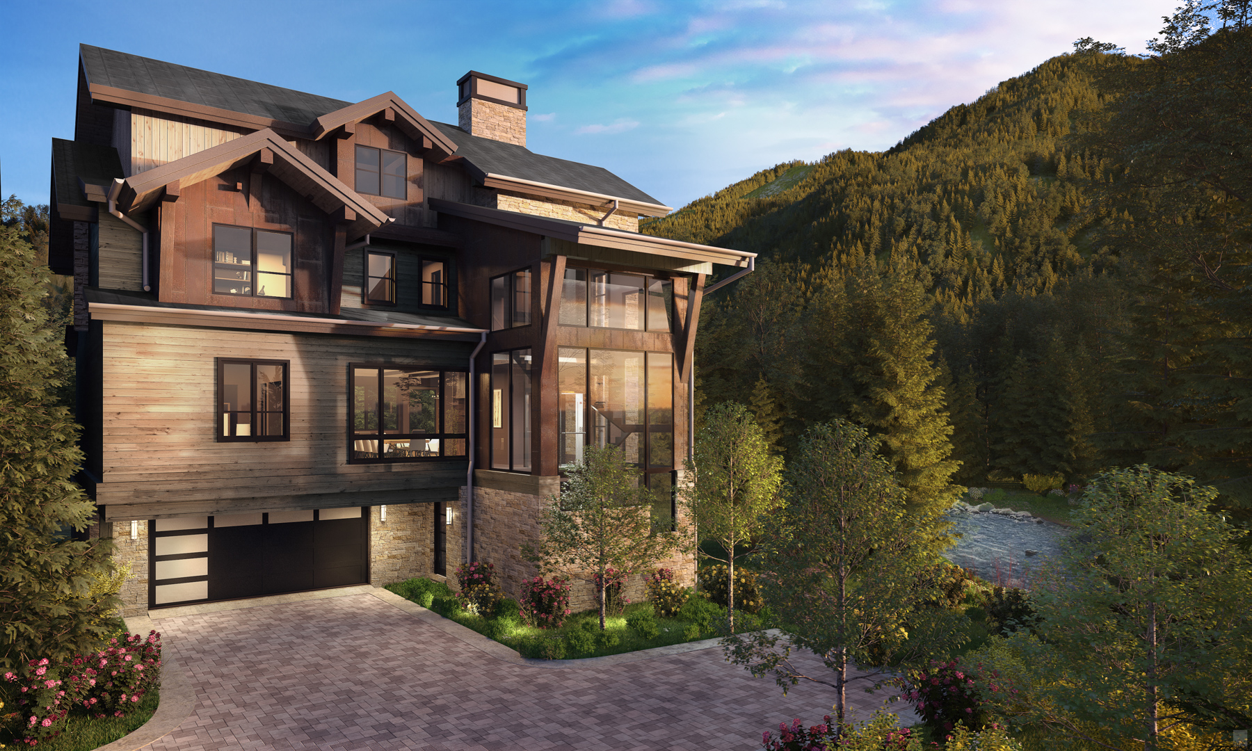 Exterior image of one of the Villas in Summer