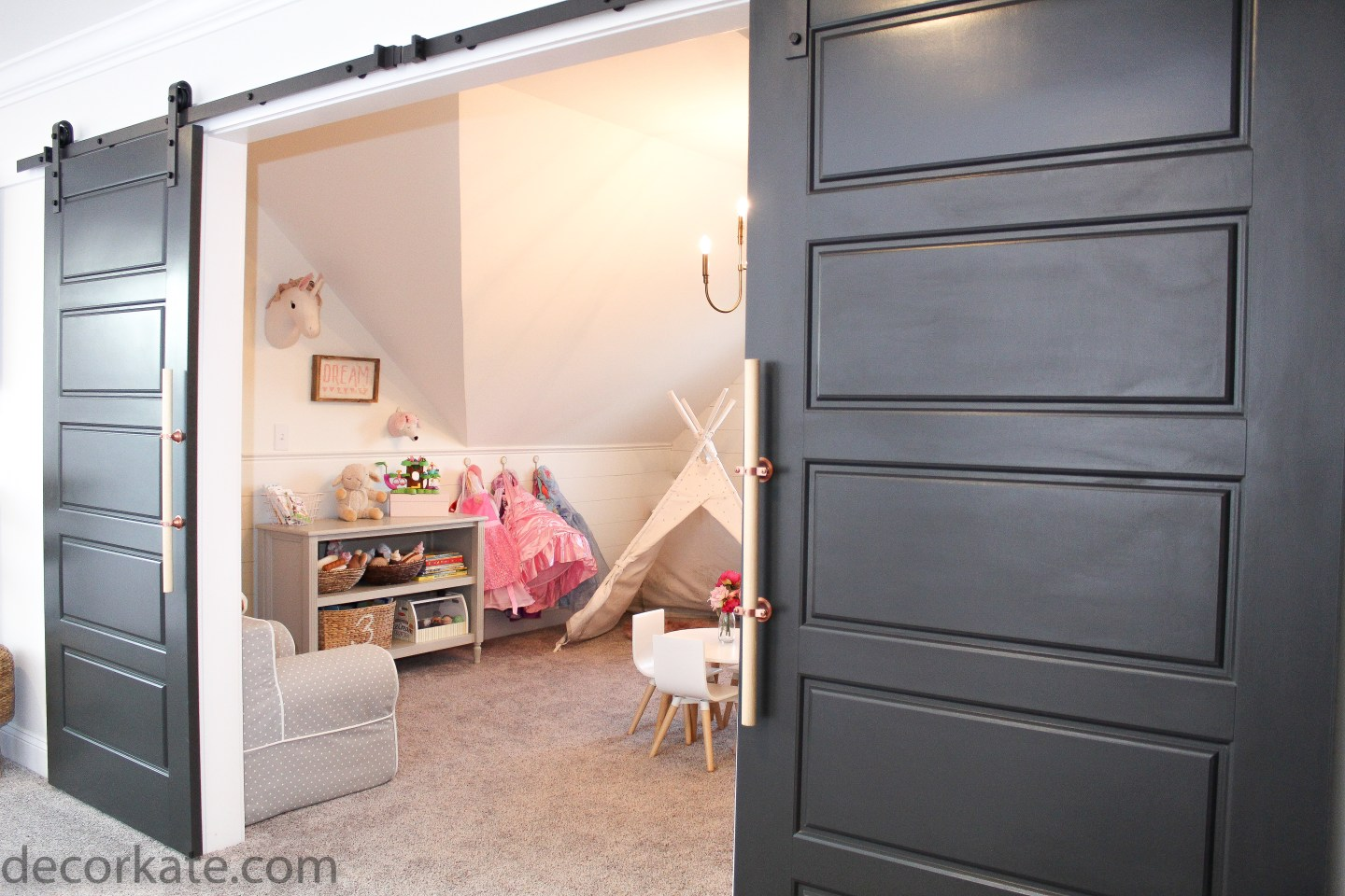 Black sliding barn door