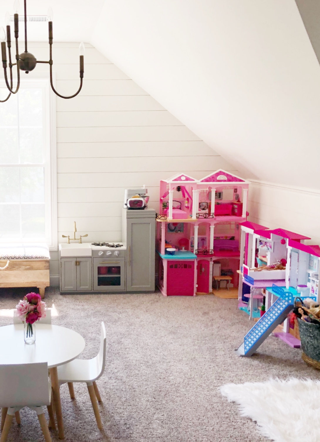 shiplap walls in playroom