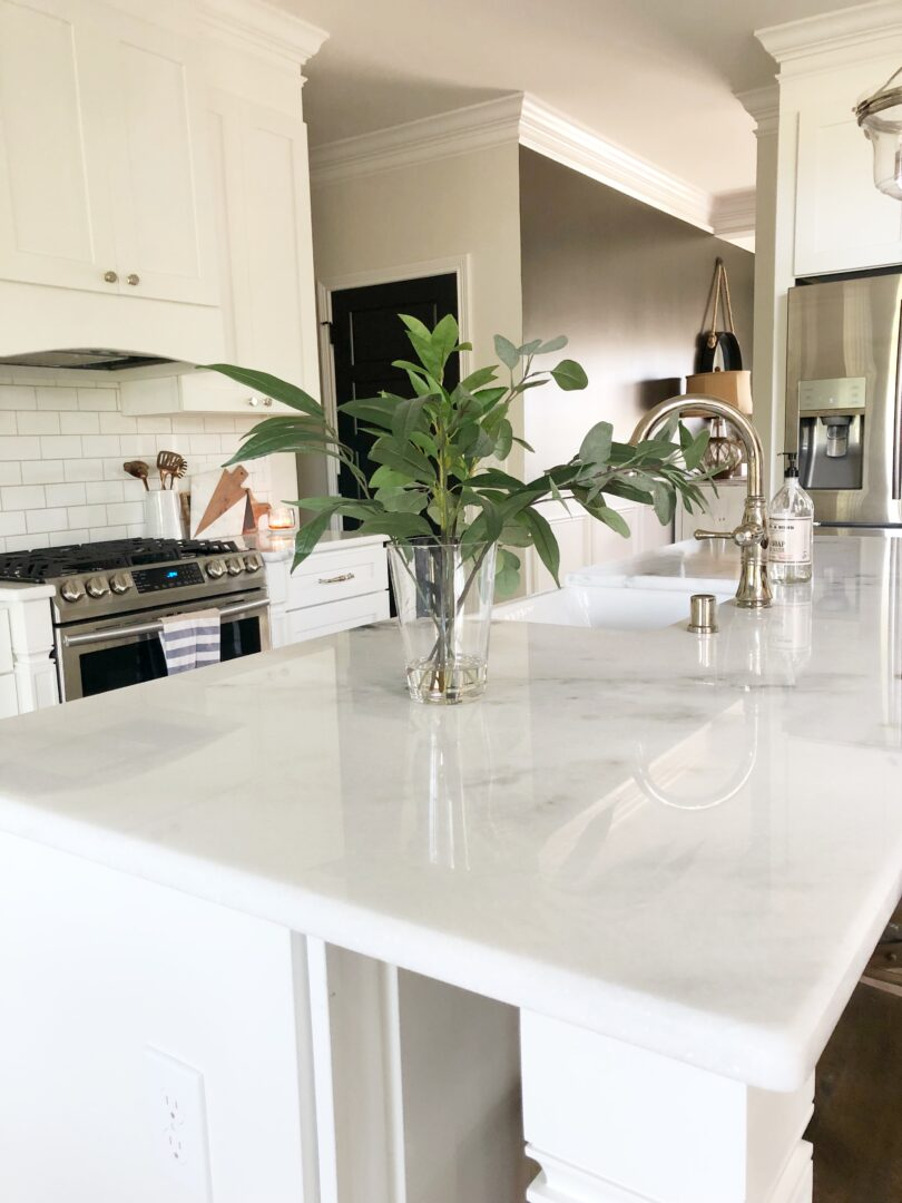 countertops shown on kitchen island