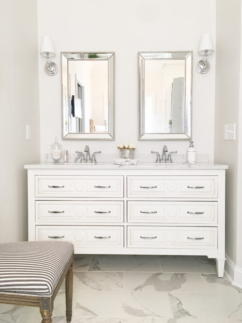 bathroom vanity double sink and mirrors