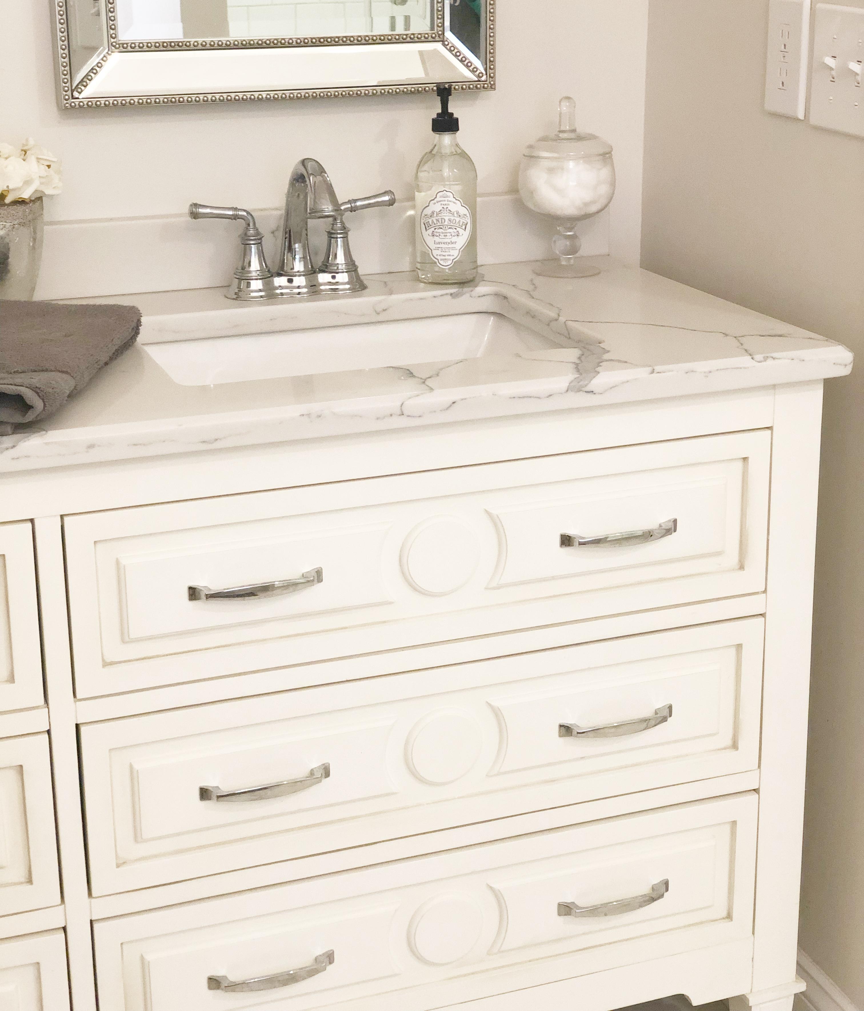 quartz counters master bathroom
