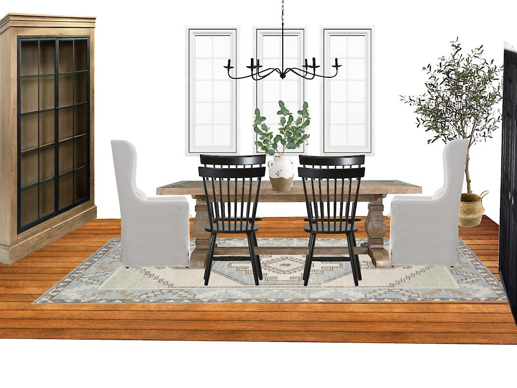 Design board of a dining room with products that show how a room can potentially look.