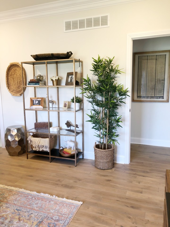 wall filled with faux tree and freestanding bookshelf