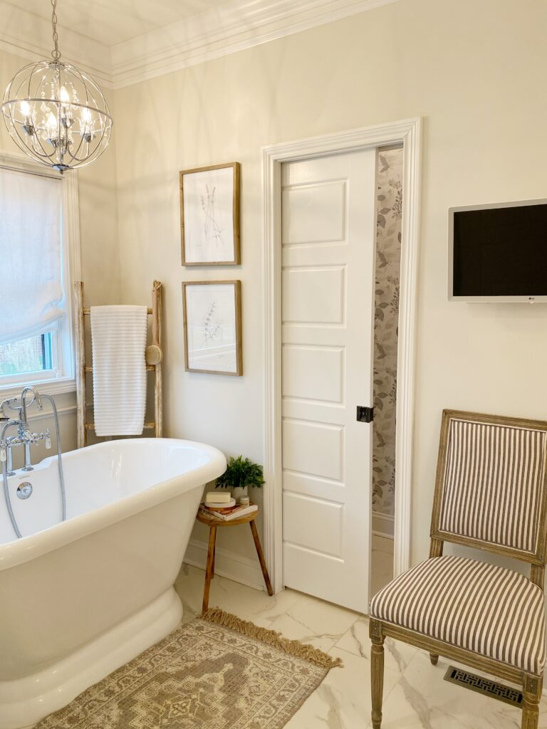 Pocket door in master bathroom