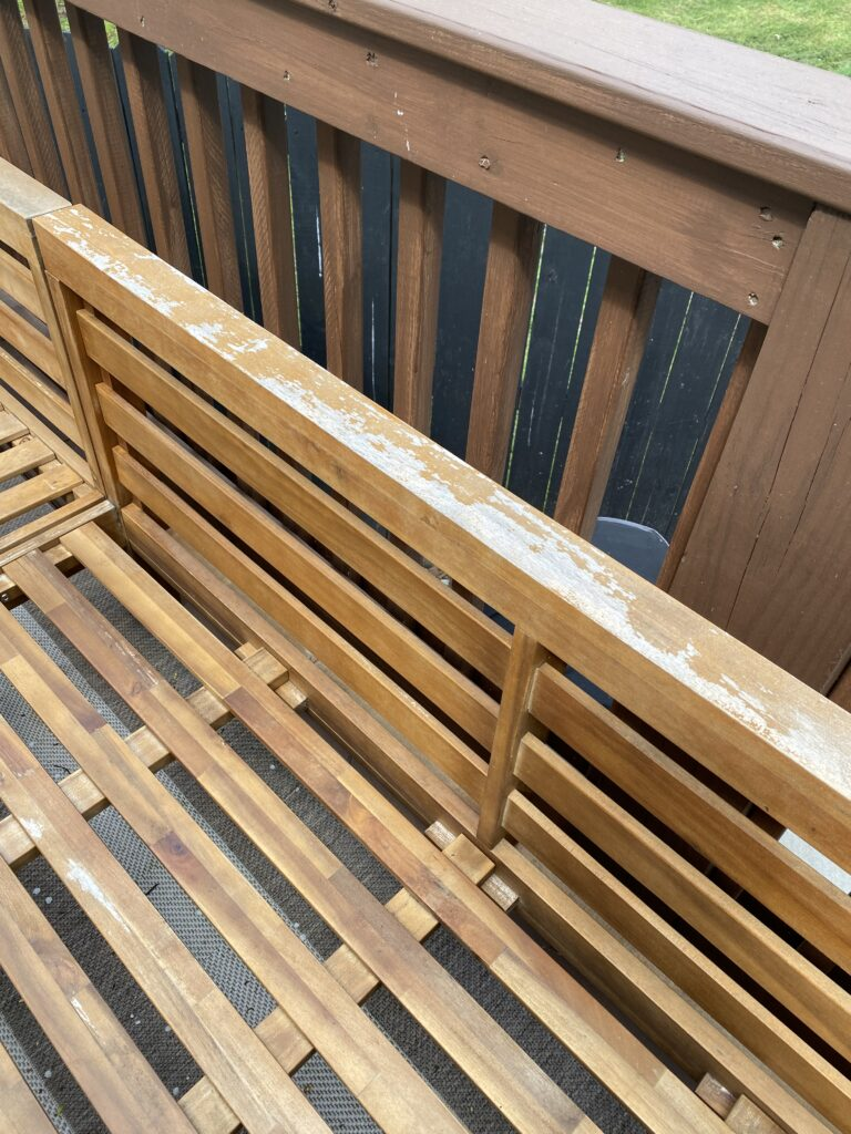 Patio furniture damaged by being outdoors in the winter without a cover