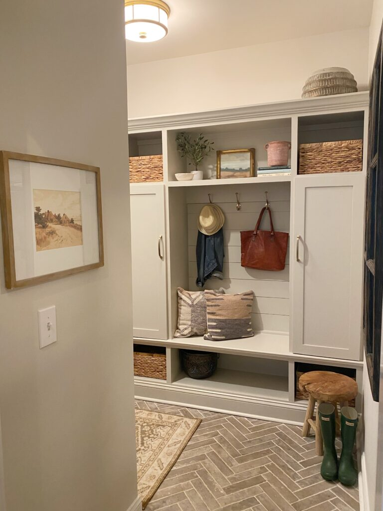 Revere Pewter Paint on mudroom cabinets.
