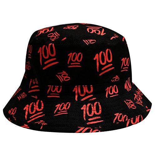 City Hunter Bd1280 Emoji 100 All Over Bucket Hat – Black
