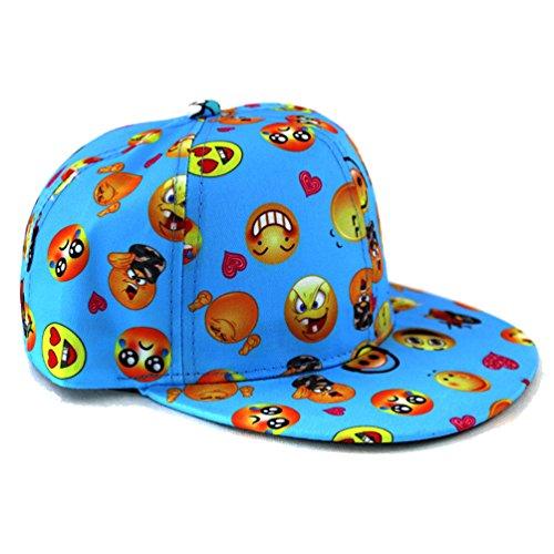 Emoji Face Funny Snapback Hat Baseball Cap (Blue)