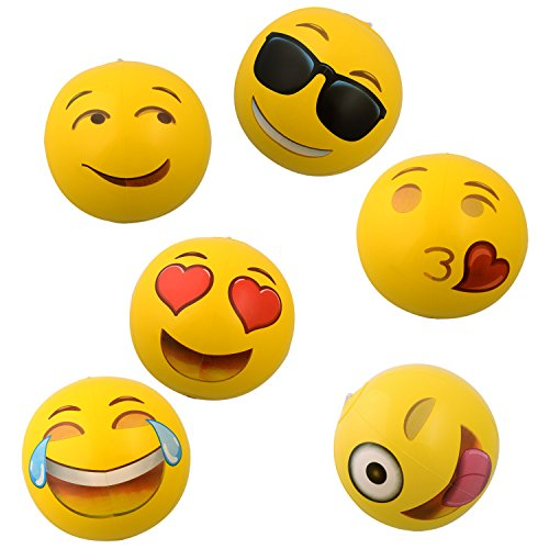 Emoji Universe: 12″ Emoji Inflatable Beach Balls, 12-Pack