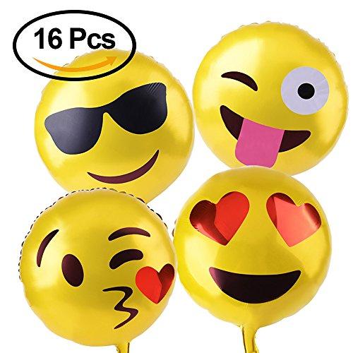 Kuuqa 18″ Reusable Emoji Mylar Party Balloons Emoji Balloons Emoji Party Supplies 16pcs