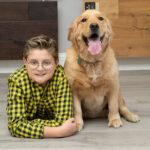 Boy with his golden retriever