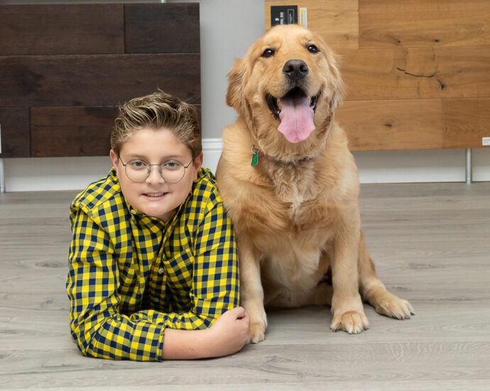 Boy with his golden retriever