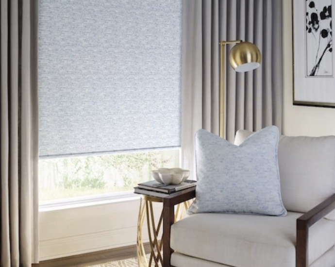 Modern, room with clean, straight curtains and translucent shade