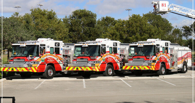 Three Fire trucks on display