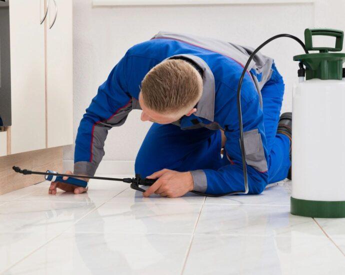 Exterminator spraying under cabinets
