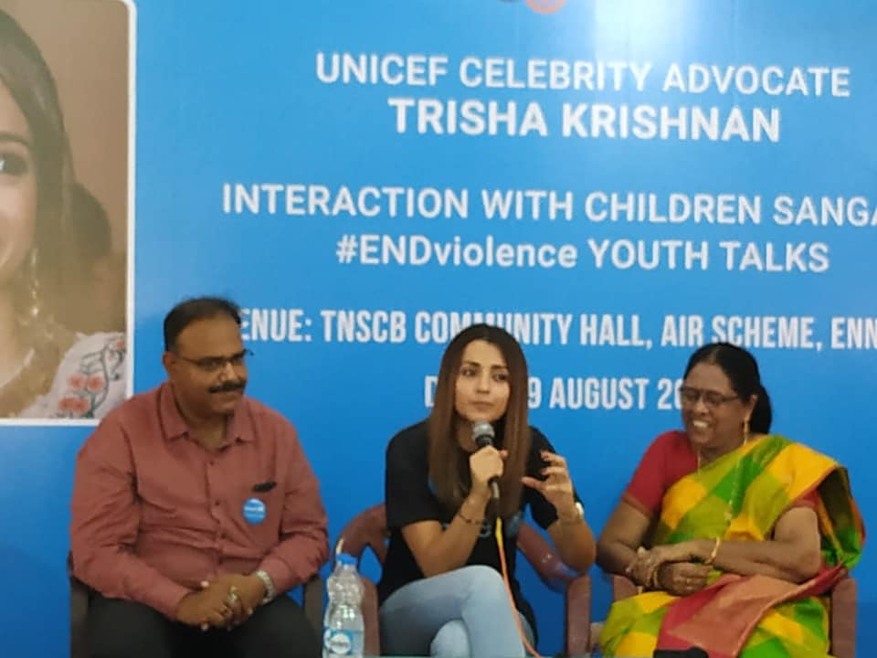 Today 29th August,Trisha Krishnan, UNICEF celebrity advocate interacted with Arunodhaya children sangam members.