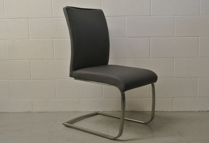 Argo Charcoal Leather Dining Chair Home Ingredients