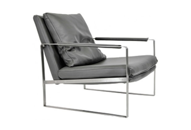 Zara Grey Leather Occasional Chair Home Ingredients