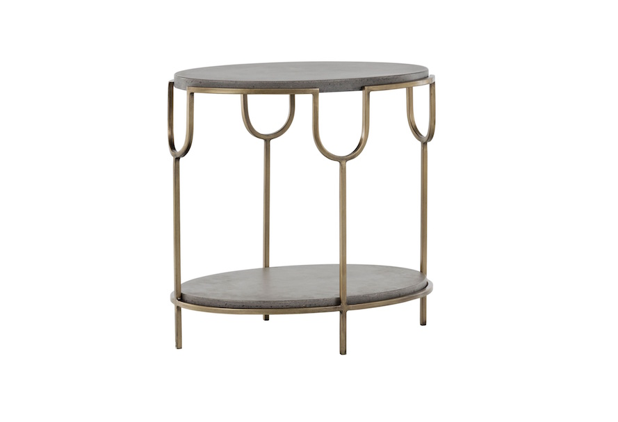 Arya Cement + Antique Brass Side Table
