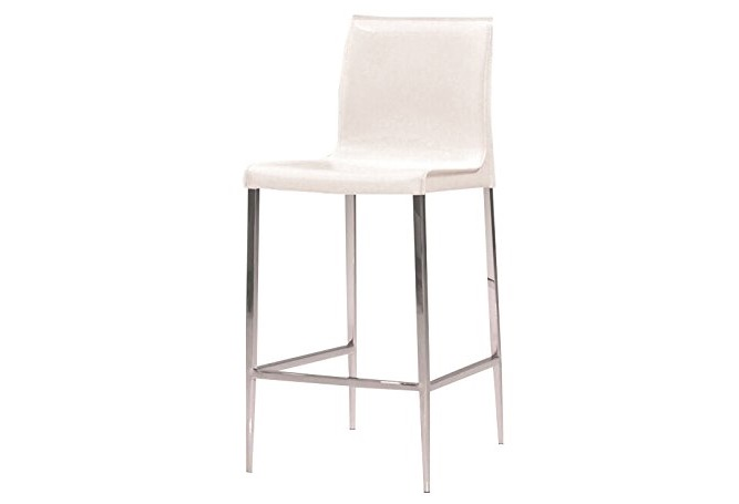 Enzo White Leather Counter Stool Home Ingredients