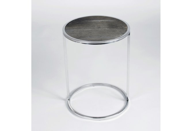 Odessa Round Wood Top Silver Base Side Table Home Ingredients